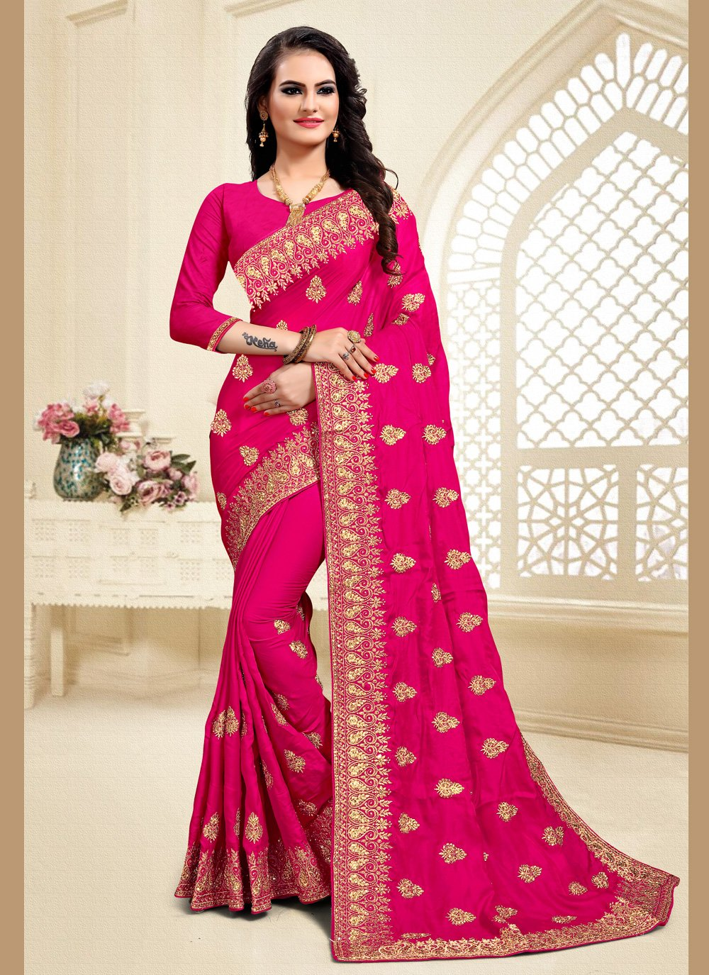 Satin Silk Designer Saree in Pink