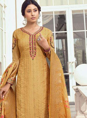 Satin Silk Digital Print Salwar Kameez in Yellow