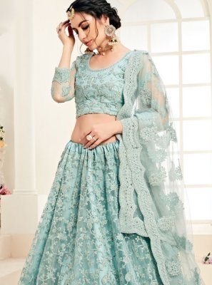 Satin Silk Embroidered Designer A Line Lehenga Choli in Aqua Blue