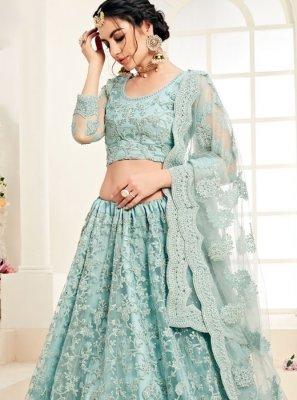 Satin Silk Embroidered Designer A Line Lehenga Choli in Aqua Blue