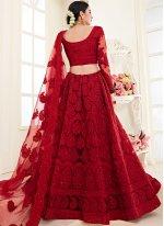 Satin Silk Embroidered Designer A Line Lehenga Choli in Red