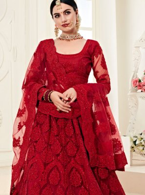 Satin Silk Embroidered Designer A Line Lehenga Choli in Red