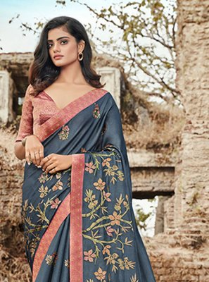 Satin Silk Embroidered Trendy Saree