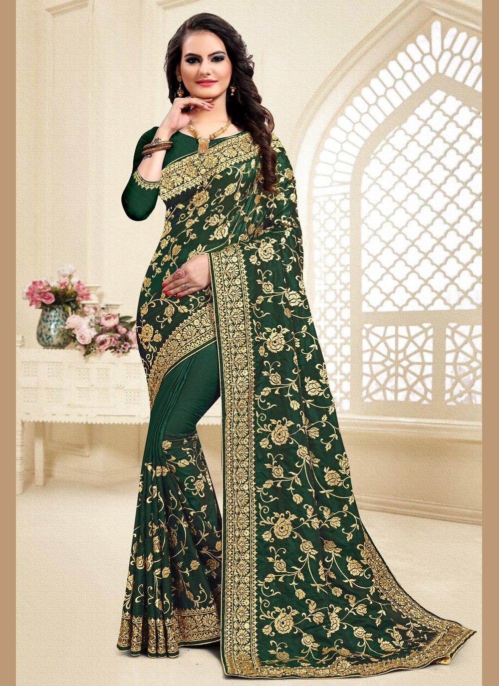 Satin Silk Green Embroidered Traditional Saree