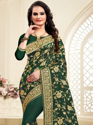 Satin Silk Green Embroidered Traditional Saree