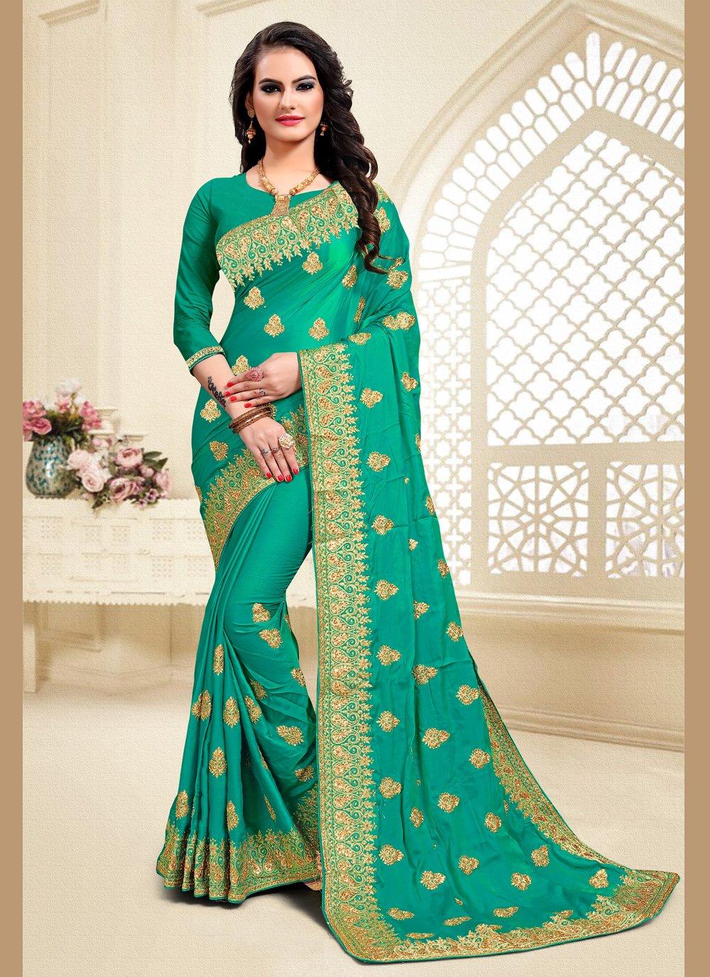 Satin Silk Green Resham Classic Saree