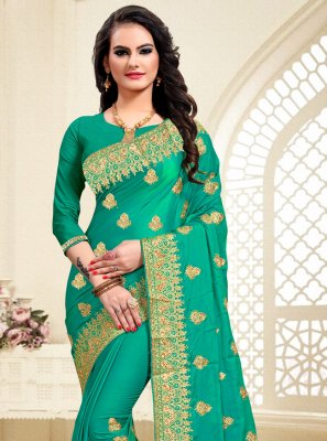 Satin Silk Green Resham Classic Saree