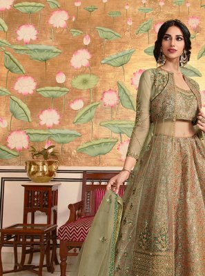 Satin Silk Green Resham Lehenga Choli