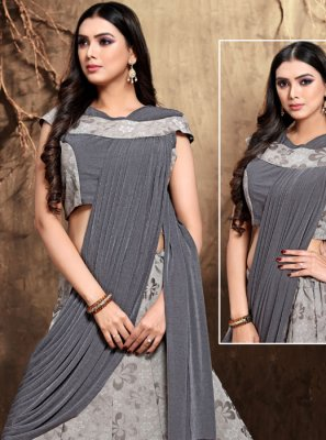 Satin Silk Lehenga Style Saree in Grey