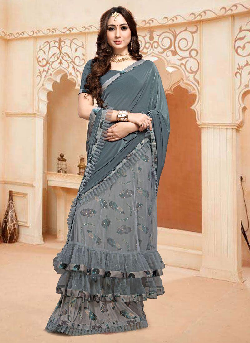 Satin Silk Lehenga Style Saree in Grey