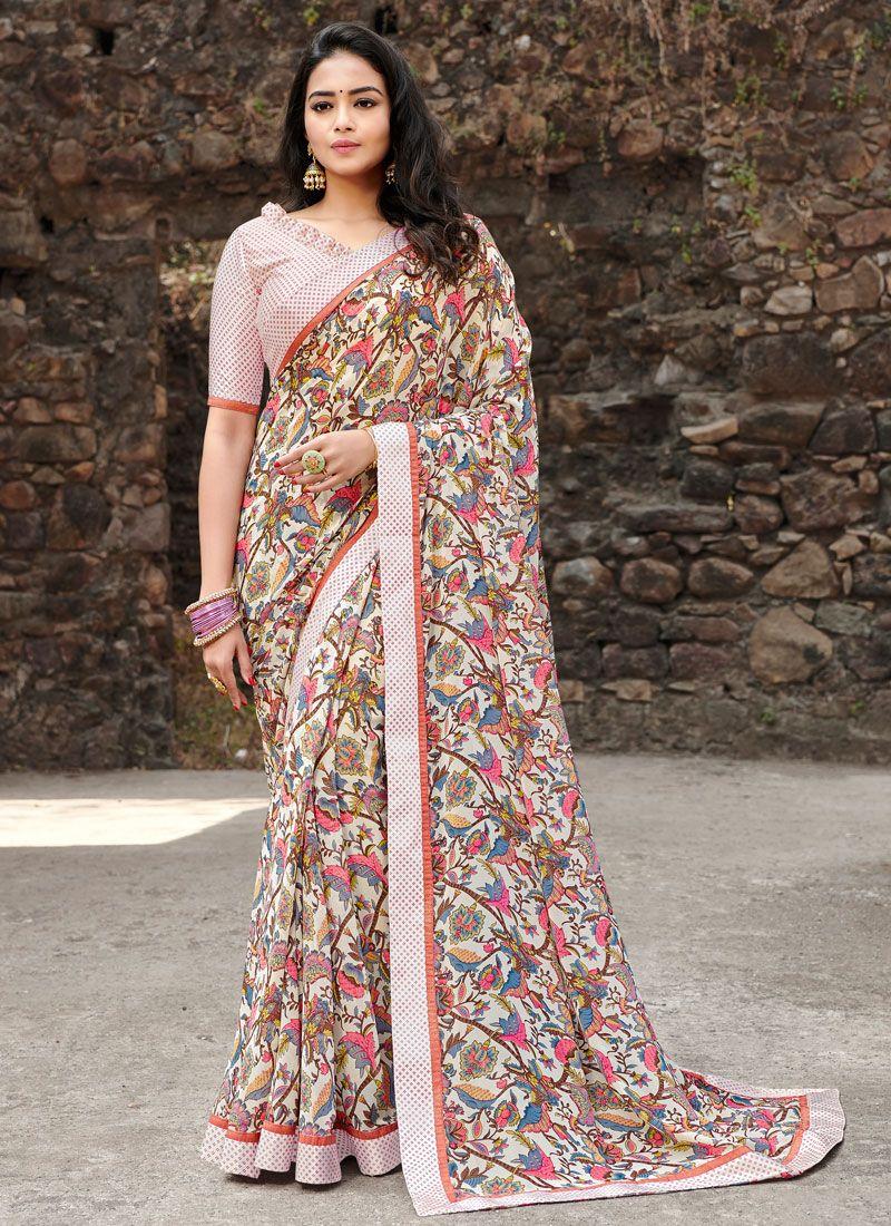 Satin Silk Multi Colour Floral Print Silk Saree