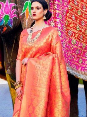 Satin Silk Orange Classic Designer Saree