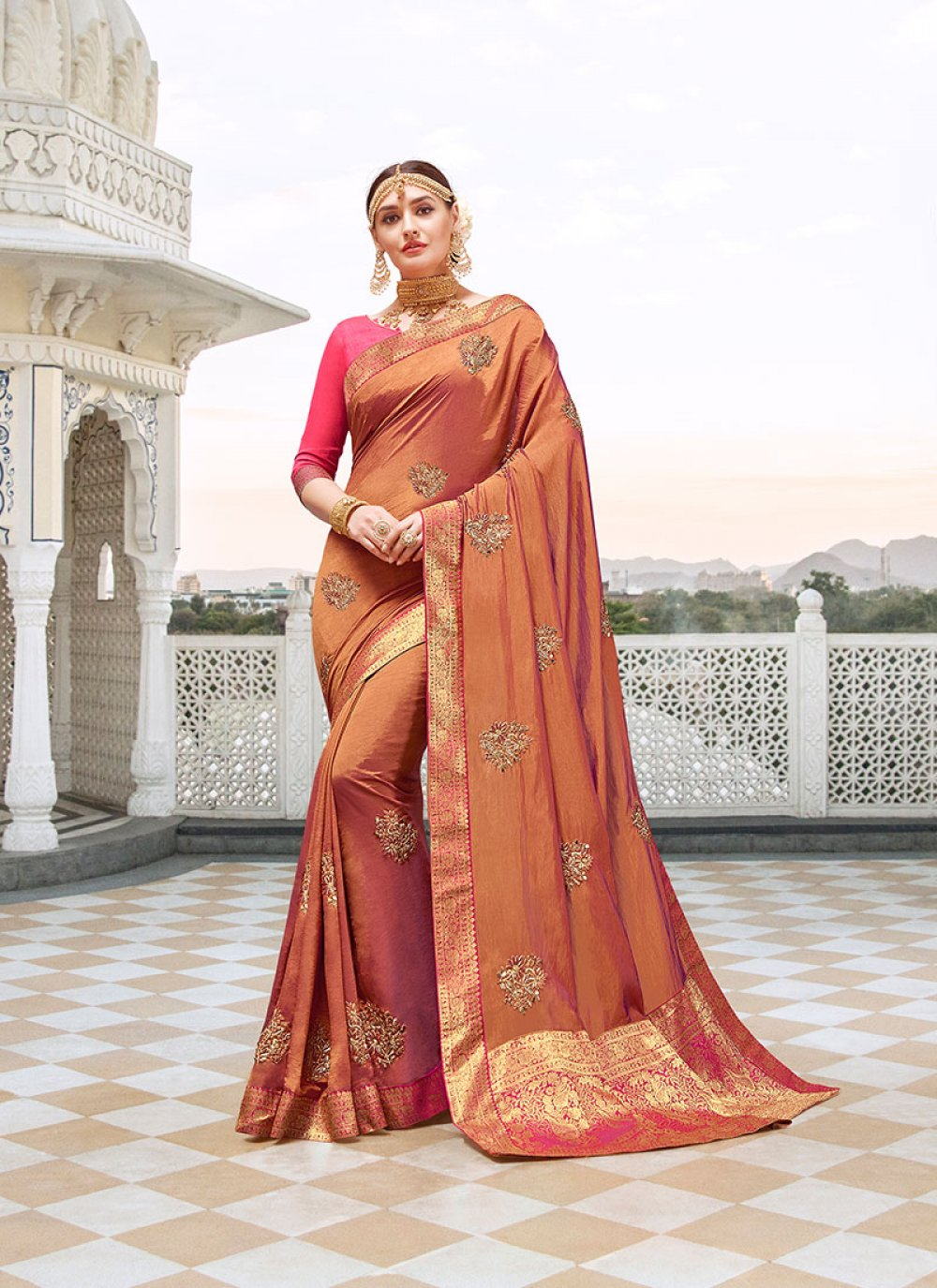 Satin Silk Orange Designer Saree