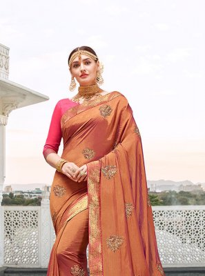 Satin Silk Orange Designer Saree