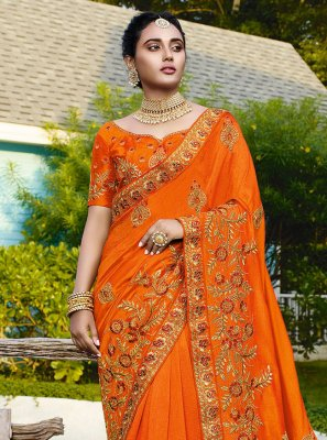 Satin Silk Orange Traditional Saree