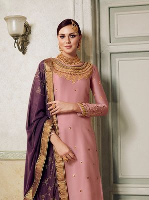 Satin Silk Palazzo Suit in Pink