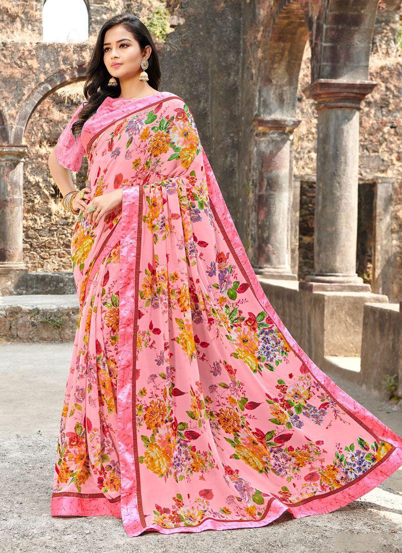 Satin Silk Pink Floral Print Printed Saree