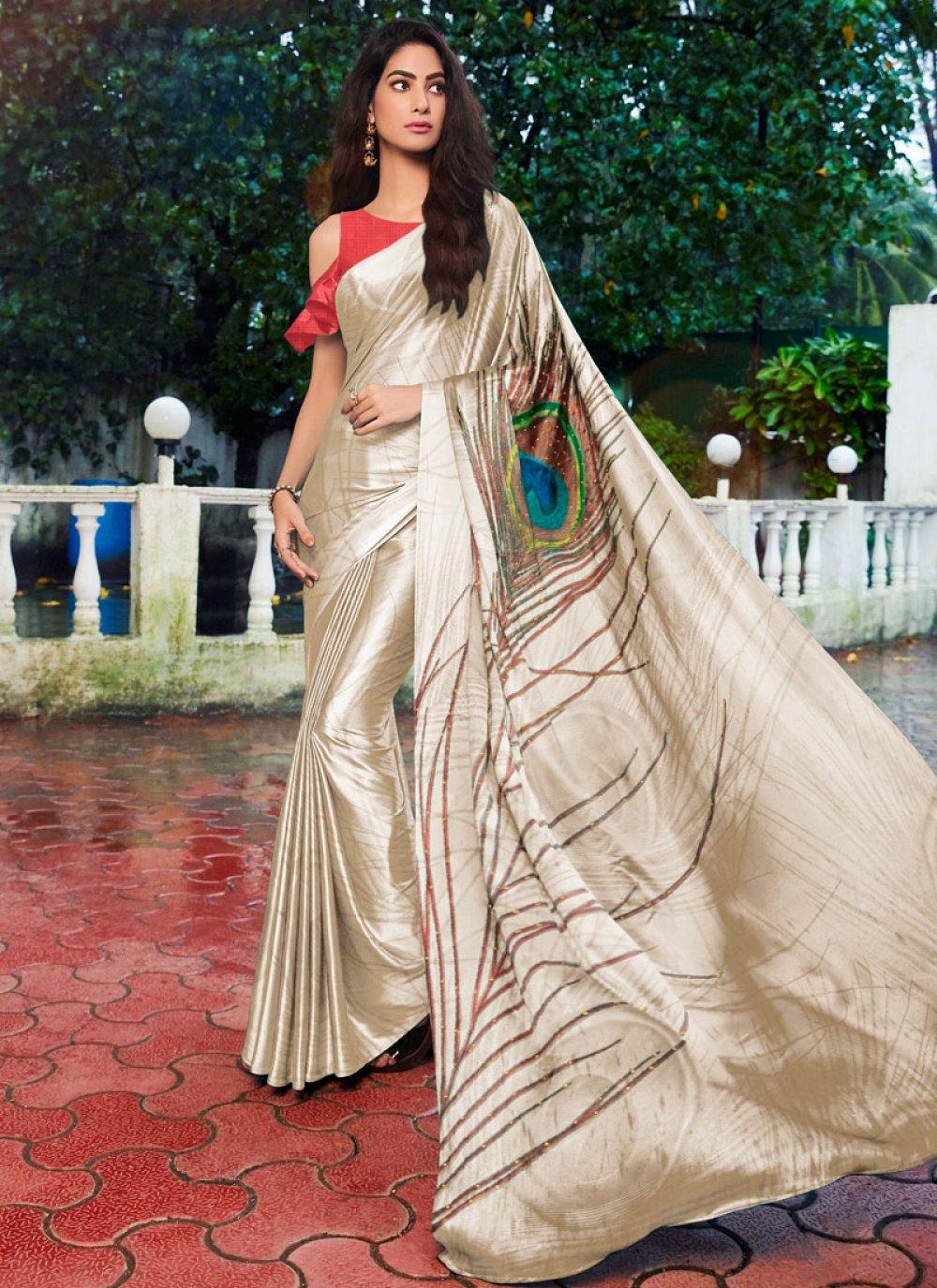 Satin Silk Printed Casual Saree in Cream