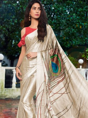 Satin Silk Printed Casual Saree in Cream