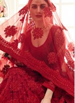 Satin Silk Red Designer A Line Lehenga Choli