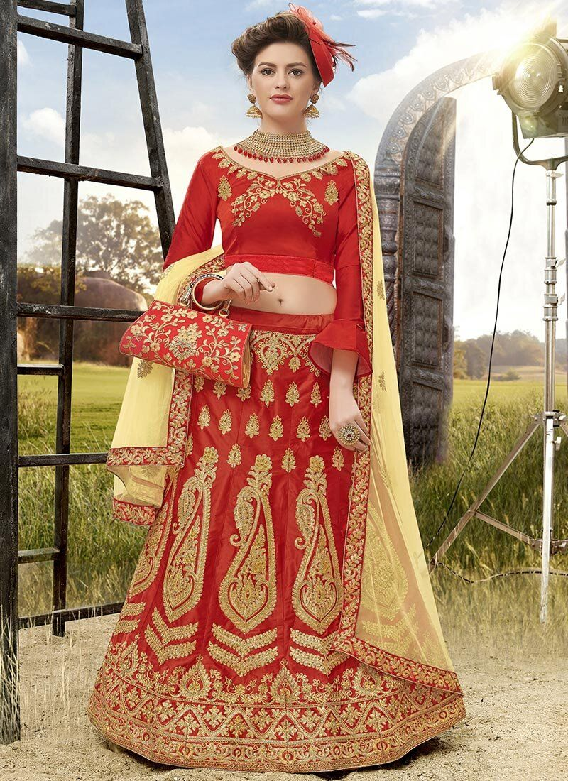 Satin Silk Red Embroidered A Line Lehenga Choli