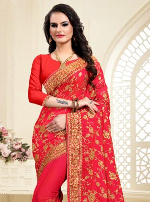Satin Silk Red Embroidered Classic Designer Saree