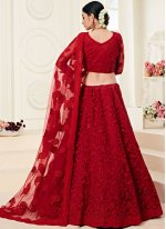 Satin Silk Red Embroidered Trendy A Line Lehenga Choli
