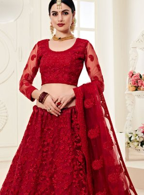 Satin Silk Red Embroidered Trendy A Line Lehenga Choli