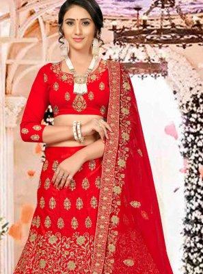 Satin Silk Red Embroidered Trendy Long Choli Lehenga