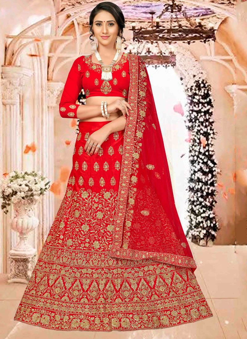 Satin Silk Red Embroidered Trendy Long Choli Lehenga