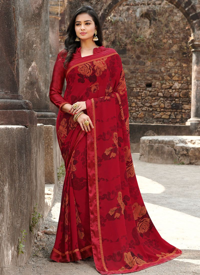 Satin Silk Red Floral Print Silk Saree