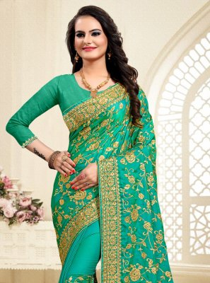 Satin Silk Resham Classic Saree in Green