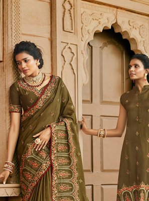 Satin Silk Resham Designer Traditional Saree in Green