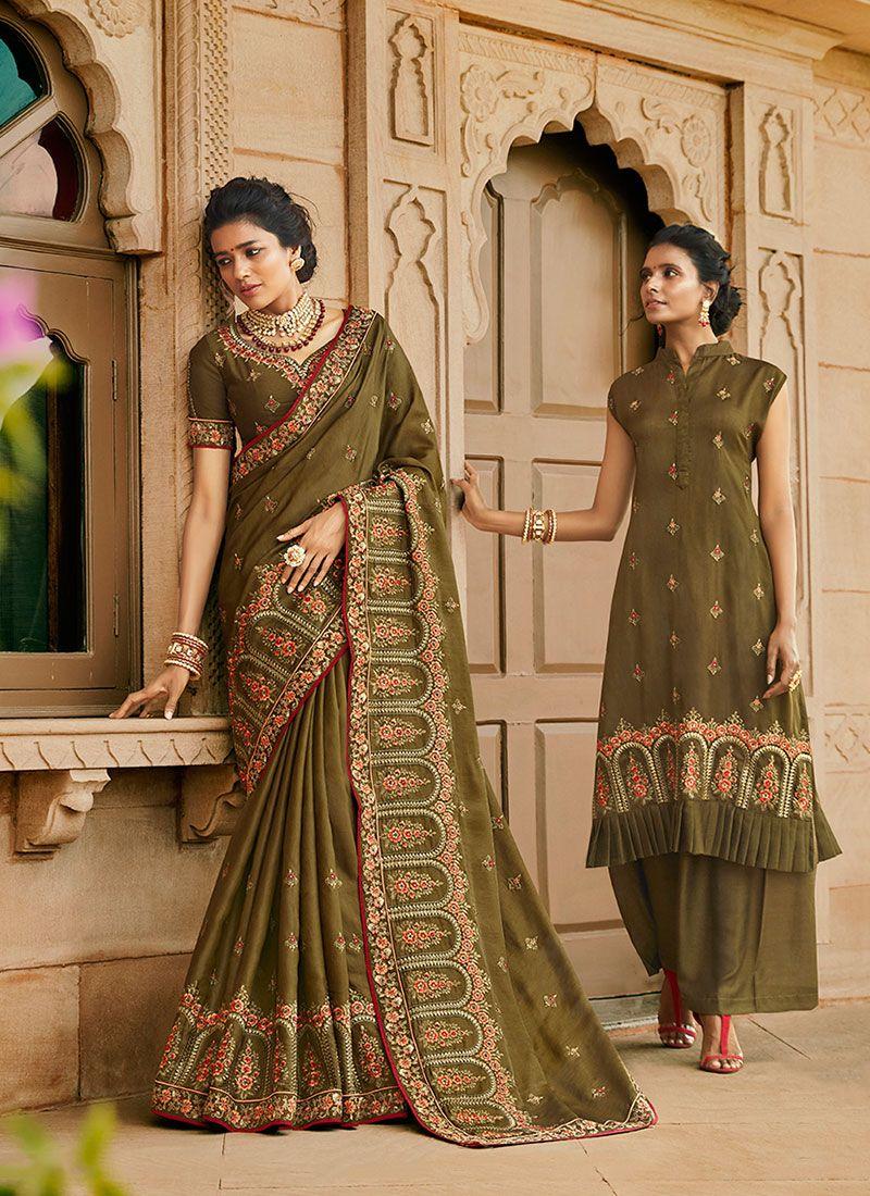 Satin Silk Resham Designer Traditional Saree in Green