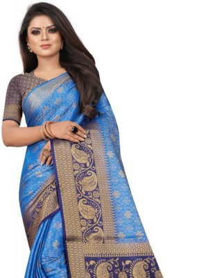 Satin Silk Silk Saree in Blue