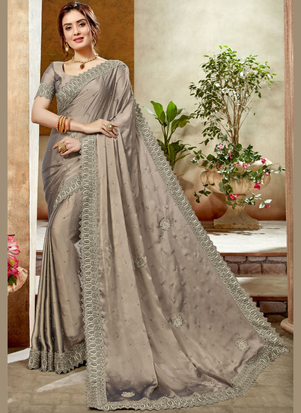 Satin Silk Silver Patch Border Silk Saree