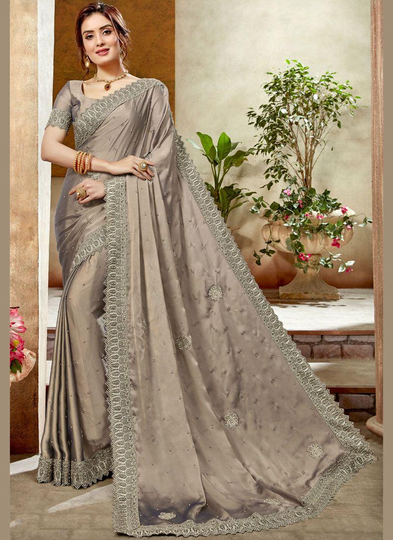 Satin Silk Silver Patch Border Silk Saree