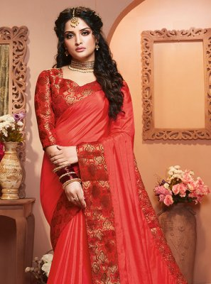 Satin Silk Weaving Red Classic Saree
