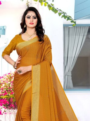 Satin Silk Yellow Traditional Saree