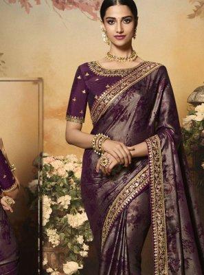 Satin Silk Zari Brown Designer Saree