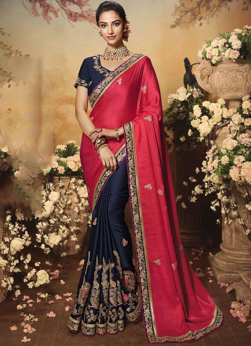 Satin Silk Zari Classic Saree in Pink
