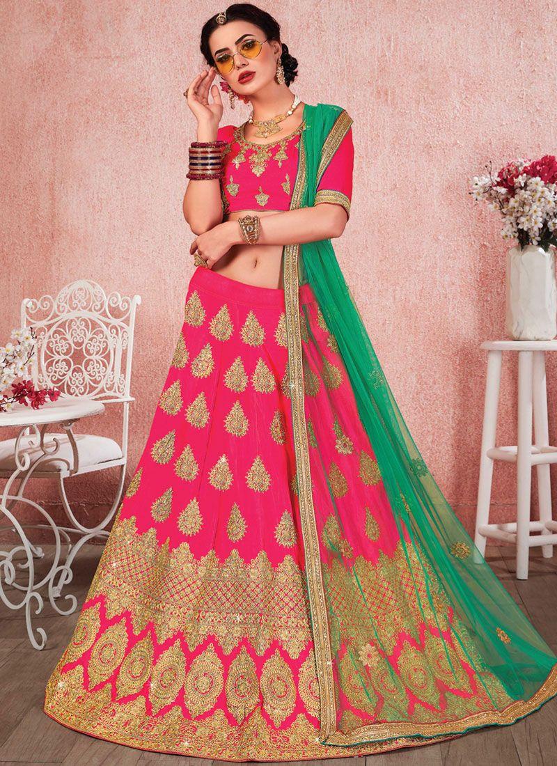 Satin Silk Zari Pink Trendy Lehenga Choli