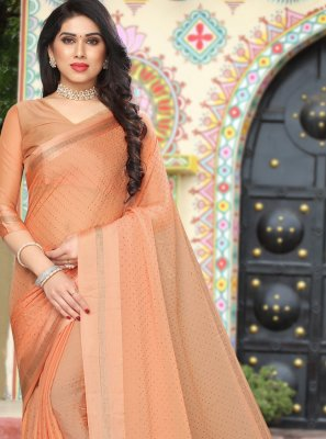 Satin Stone Work Saree in Beige