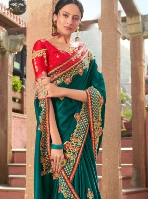 Satin Teal Trendy Saree