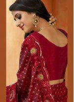 Satin Traditional Saree in Maroon