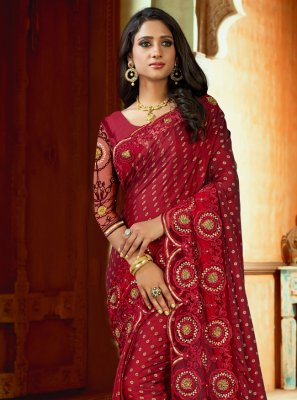 Satin Traditional Saree in Maroon