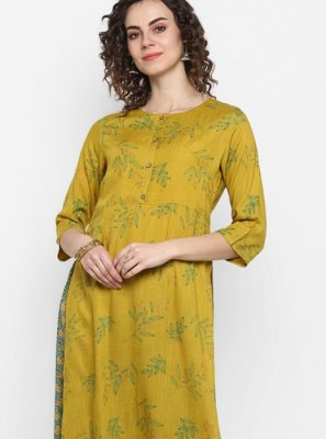 Sea Green and Yellow Festival Designer Kurti