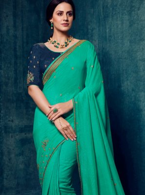 Sea Green Art Silk Classic Designer Saree