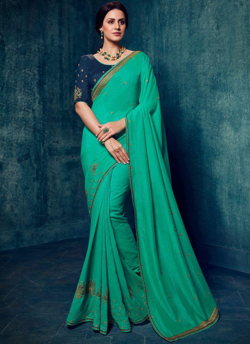 Sea Green Art Silk Classic Designer Saree