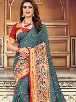Sea Green Art Silk Classic Saree